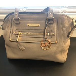 Michael Michael Kors purse in dove gray and gold